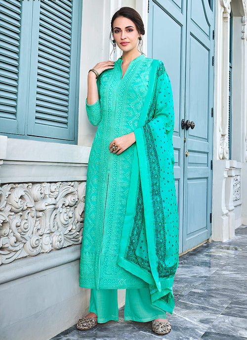 Lucknowi Embroidered Pants Suit