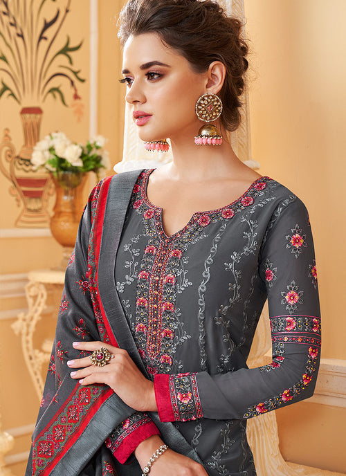 Grey Multi Embroidered Designer Pant Style Suit, Salwar Kameez