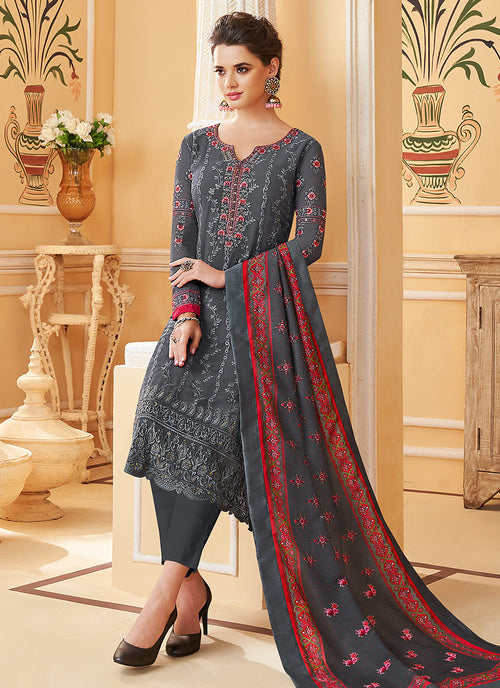 Grey Multi Embroidered Designer Pant Style Suit