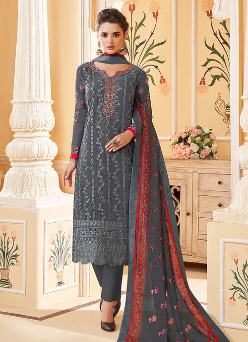 Indian Clothes - Grey Multi Embroidered Designer Pant Style Suit