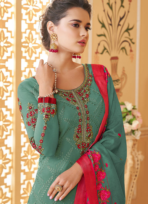 Turquoise Multi Embroidered Designer Pant Style Suit, Salwar Kameez
