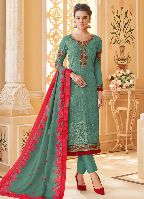 Indian Clothes - Turquoise Multi Embroidered Designer Pant Style Suit