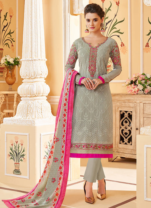Indian Clothes - Grey Embroidered Designer Pant Style Suit