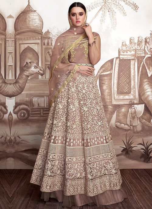 Mauve And Beige Embroidered Layered Anarkali Suit, Salwar Kameez