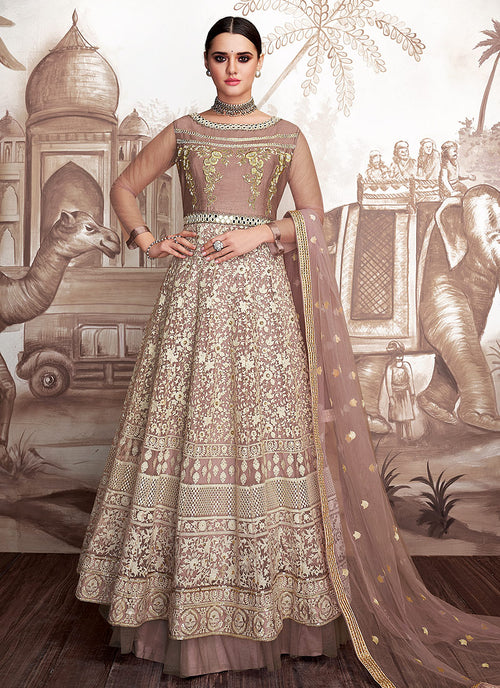 Indian Clothes - Mauve And Beige Embroidered Layered Anarkali Suit