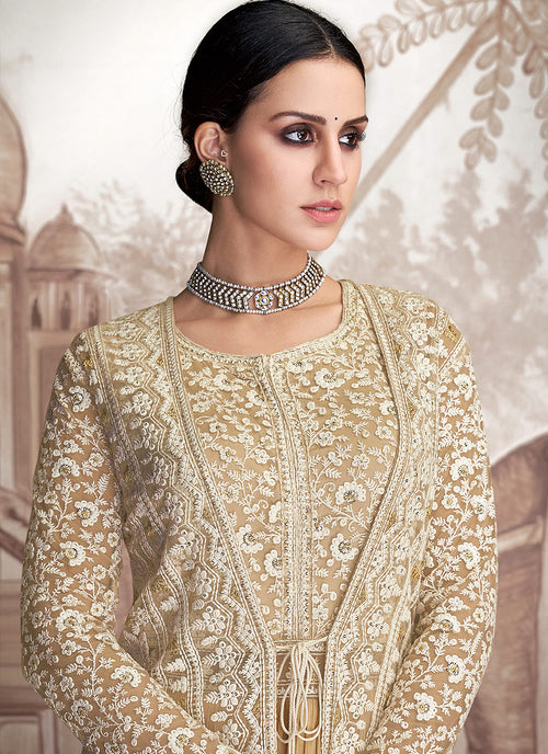 Yellow And Beige Embroidered Jacket Style Anarkali Suit, Salwar Kameez
