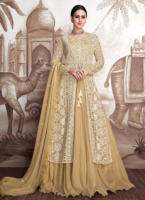 Indian Clothes - Yellow And Beige Embroidered Jacket Style Anarkali Suit