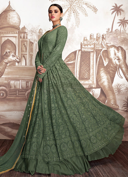 Green Golden Embroidered Anarkali Lehenga Suit, Salwar Kameez