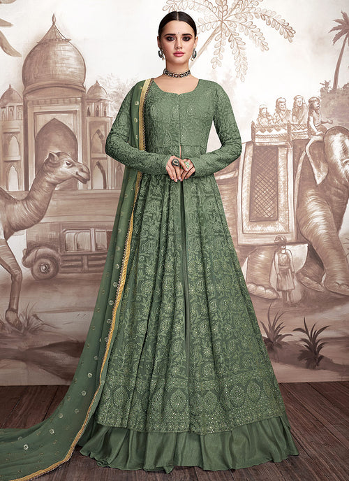 Indian Clothes - Green Golden Embroidered Anarkali Lehenga Suit