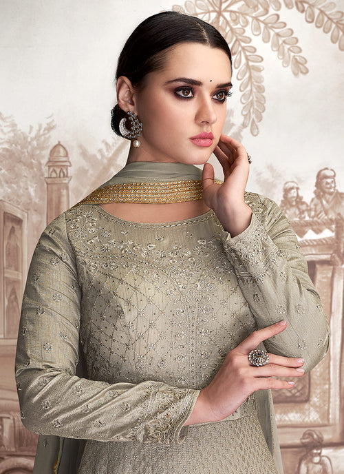 Grey Golden OverAll Embroidered Anarkali Suit, Salwar Kameez