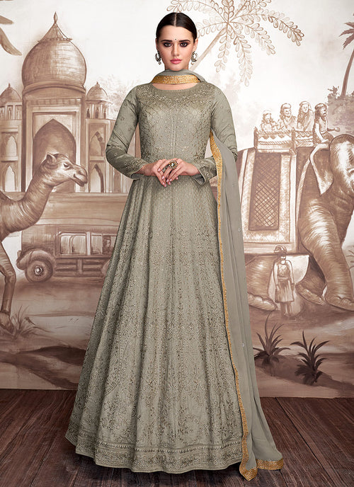 Indian Clothes - Grey Golden OverAll Embroidered Anarkali Suit