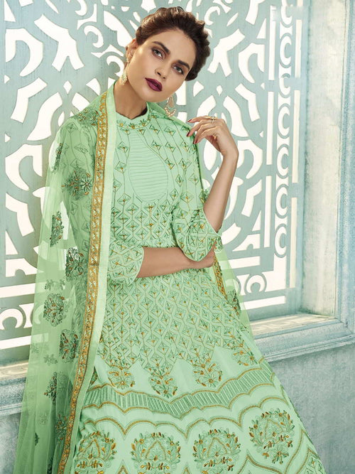 Light Green Lucknowi Kalidar Anarkali Suit