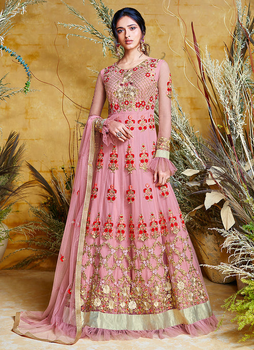 Pink Traditional Layered Bridal Anarkali Suit