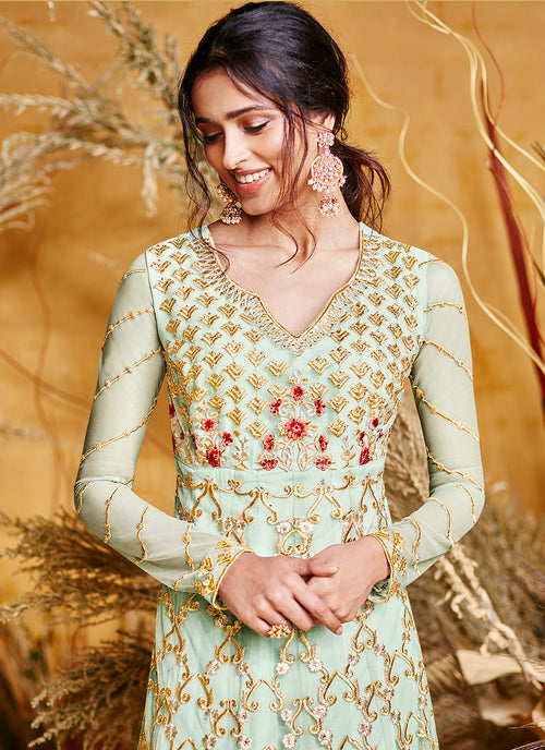 Light Green Multi Embroidered Anarkali Suit