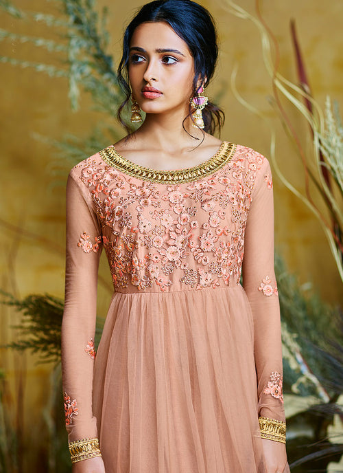 Peach And Golden Embroidered Anarkali Suit