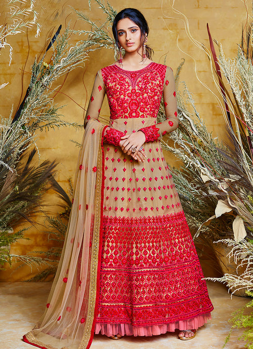 Golden Red Embroidered Anarkali Suit