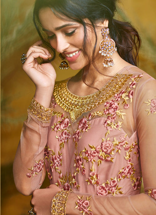 Light Pink Embroidered Layered Anarkali Suit