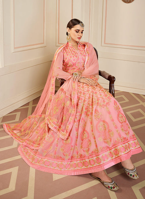 Pink Lucknowi Embroidered Anarkali Suit