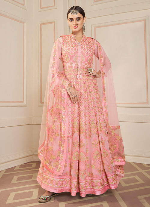 Indian Clothes - Pink Lucknowi Embroidered Anarkali Suit