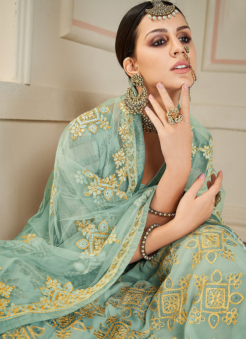Mint Green Lucknowi Embroidered Anarkali Suit