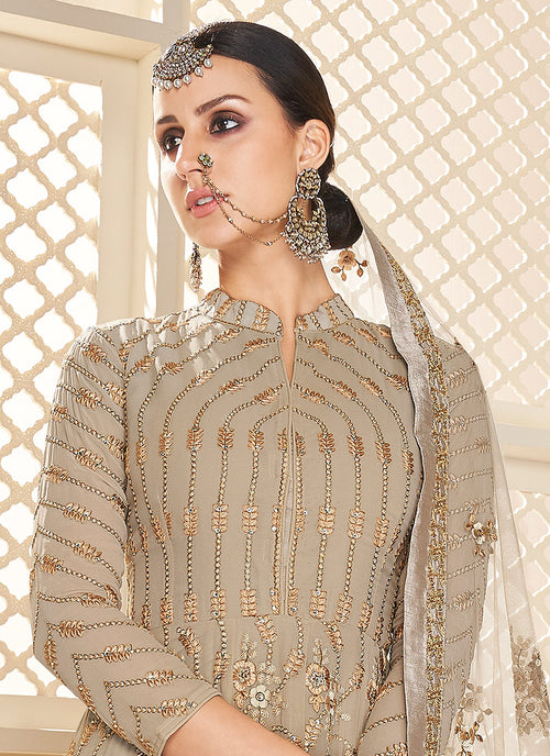 Beige Golden Lucknowi Embroidered Anarkali Suit, Salwar Kameez
