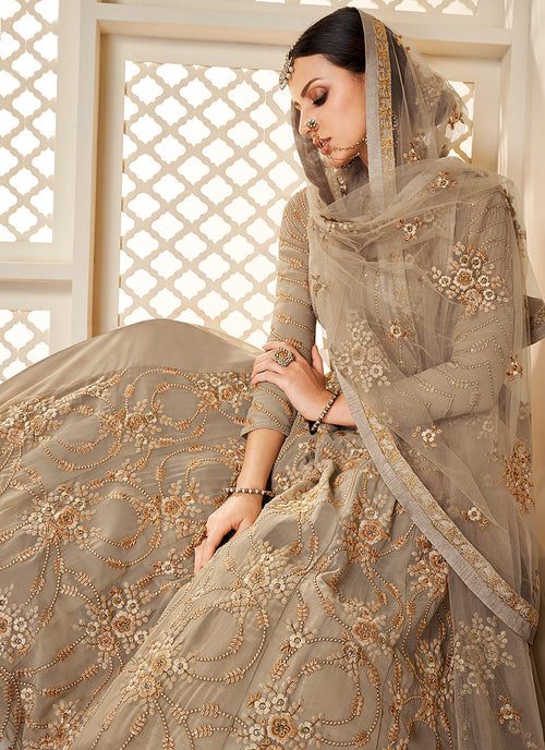 Beige Golden Lucknowi Embroidered Anarkali Suit