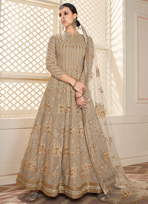 Beige Golden Lucknowi Anarkali Suit