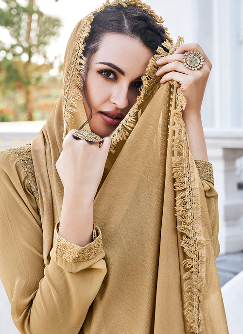 Indian Dresses - Golden Beige Lucknowi Pants Style Suit