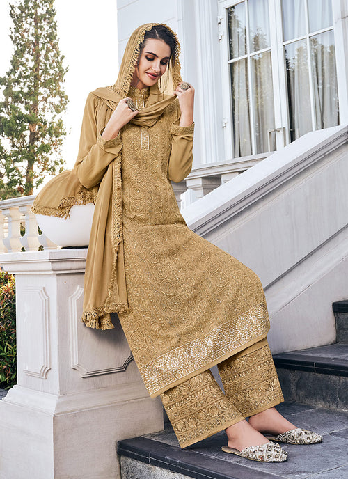 Indian Suits - Golden Beige Pants Style Suit