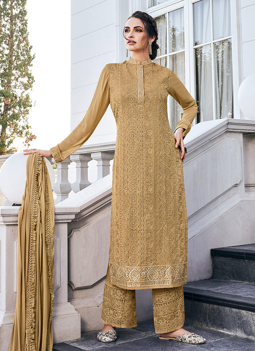 Indian Clothes - Golden Beige Lucknowi Embroidered Pants Style Suit