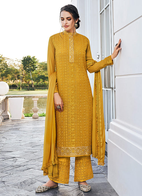 Indian Suits - Yellow Pants Style Suit