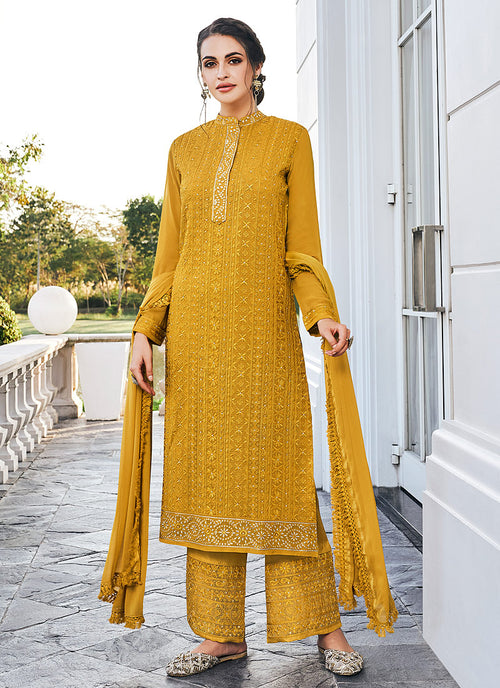 Indian Clothes - Yellow Lucknowi Embroidered Pants Style Suit