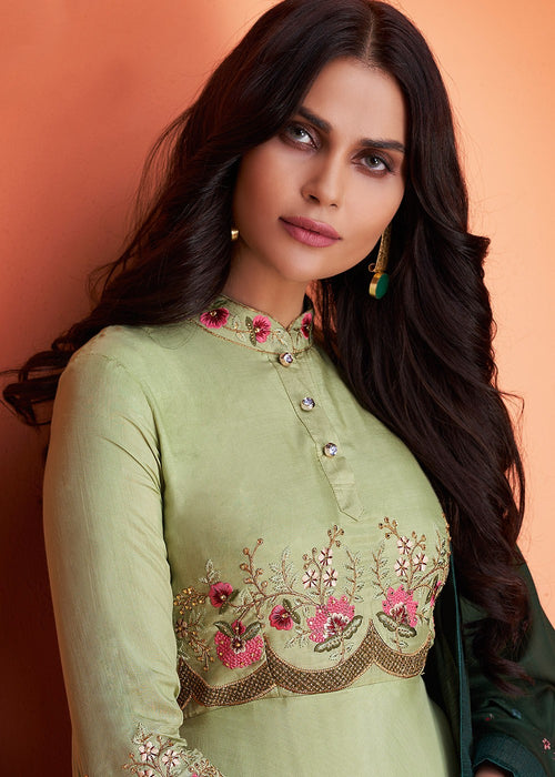 Green Floral Embroidered Palazzo Suit