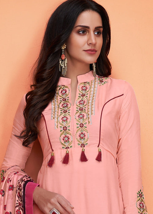 Pink And Maroon Floral Embroidered Palazzo Suit