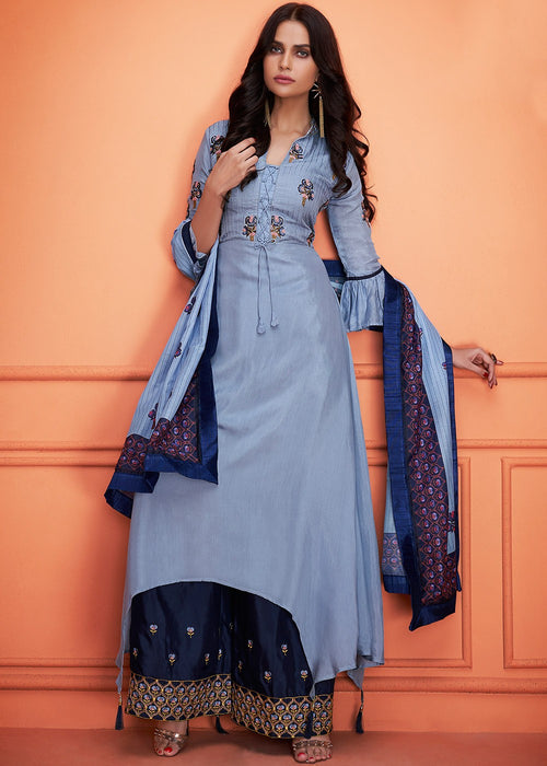 Pale Blue Floral Embroidered Palazzo Suit