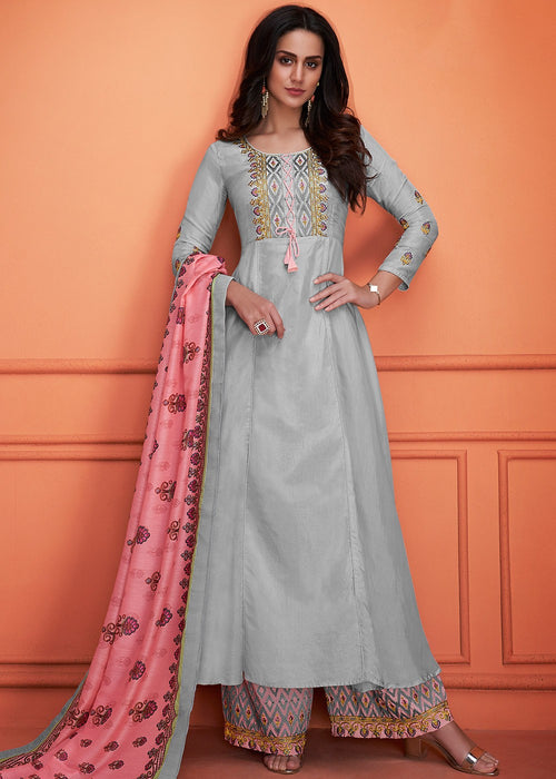 Grey And Pink Floral Embroidered Palazzo Suit