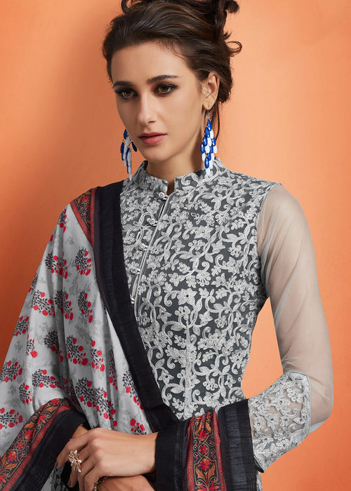 Black And White Floral Embroidered Palazzo Suit