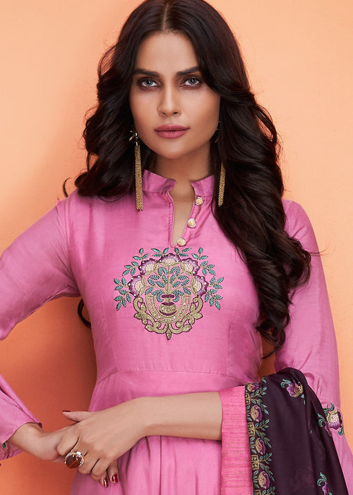 Hot Pink And Plum Floral Embroidered Palazzo Suit
