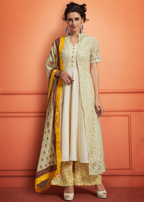 Off White And Yellow Floral Embroidered Palazzo Suit