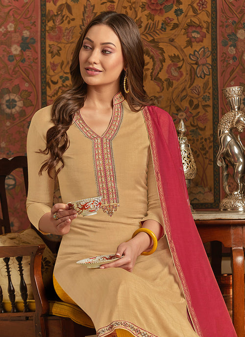 Indian Dresses - Beige And Pink Pant Style Suit