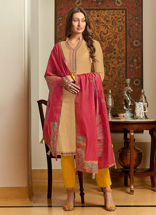 Indian Clothes - Beige And Pink Embroidered Pant Style Suit