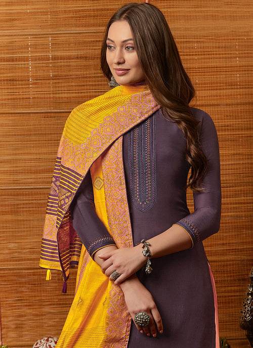 Indian Suits - Purple And Yellow Pant Style Suit