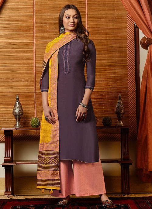 Purple And Yellow Salwar Kameez