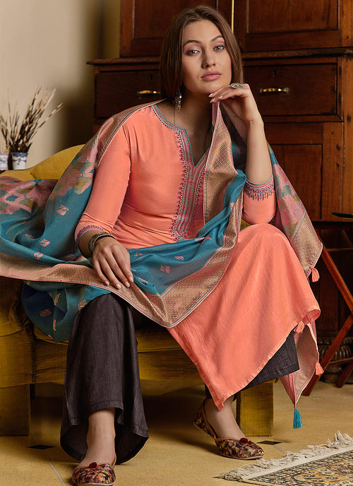 Indian Dresses - Peach And Blue Pant Style Suit