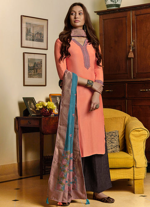 Peach And Blue Salwar Kameez