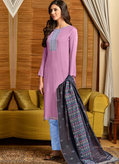 Light Pink and Blue Salwar Kameez