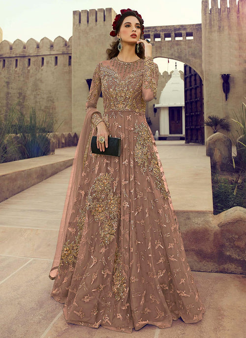 Indian Clothes - Mauve Golden Embroidered Flared Anarkali Suit