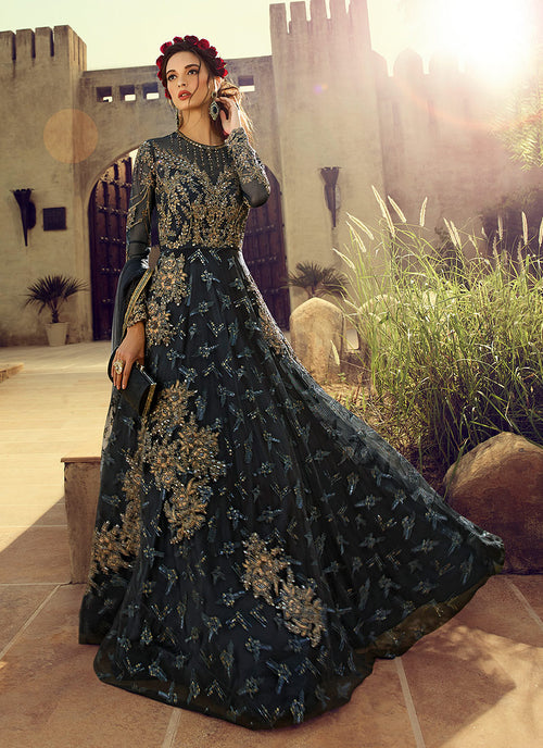 Embroidered Flared Anarkali Suit