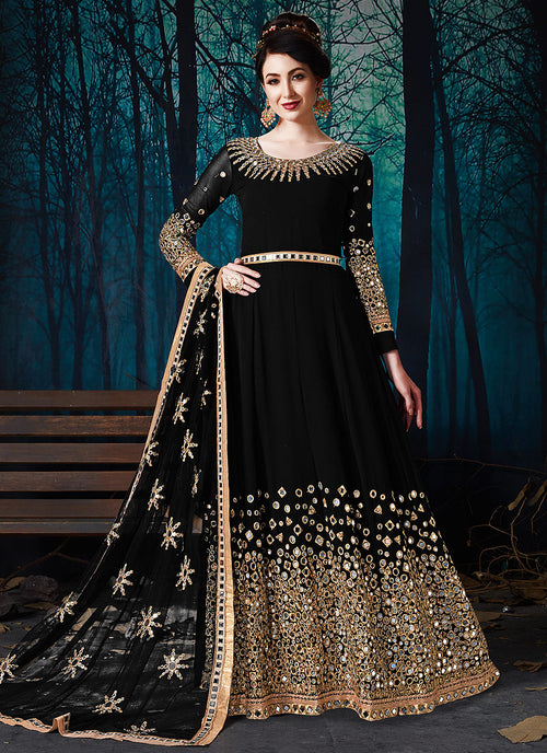 Black All Over Mirror Embroidered Anarkali Suit