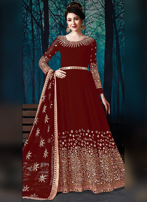 Red All Over Mirror Embroidered Anarkali Suit